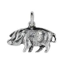 Anhänger Schwein in echt Sterling-Silber 925 oder Gold, Ketten- oder Schlüssel-Anhänger