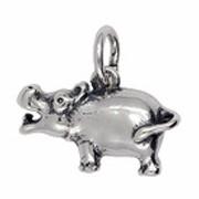 Anhänger Flusspferd, Nilpferd in Silber oder Gold, Charm T316, Kettenanhänger oder Bettelarmband-Anhänger