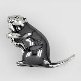 Zierfigur Biber in echt Sterling-Silber 925, Standmodell
