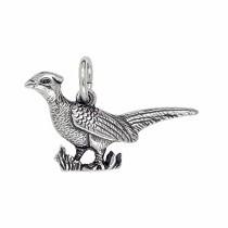 Anhänger Fasan in echt Sterling-Silber 925 oder Gold, Charm, Ketten- oder Bettelarmband-Anhänger