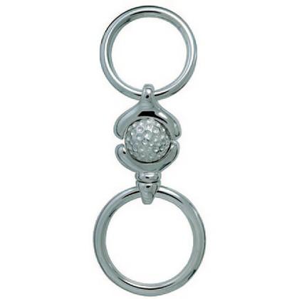 Doppelschlüsselring Golfball mit zwei Federringen (einer mit Wirbel) und Schnappverschlüssen, Schlüsselmechanik in Sterling-Silber 925/000 für Anhänger