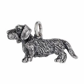Anhänger Dackel, Hund in echt Sterling-Silber 925 oder Gold, Ketten- oder Schlüssel-Anhänger