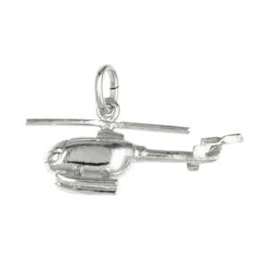 Anhänger Hubschrauber in echt Sterling-Silber, Charm, Ketten- oder Bettelarmband-Anhänger