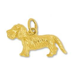 Anhänger Rauhaardackel, Hund in echt Sterling-Silber 925 oder Gelbgold, Charm, Ketten- oder Bettelarmband-Anhänger