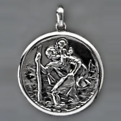 Anhänger Christophorus rund in echt Sterling-Silber 925 oder Gold, Ketten- oder Schlüssel-Anhänger