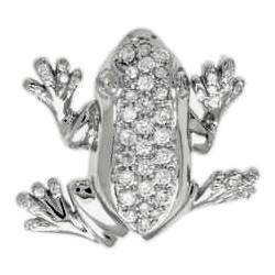 Anhänger Frosch in echt Sterling-Silber 925 mit Zirkonia, Ketten- oder Schlüssel-Anhänger