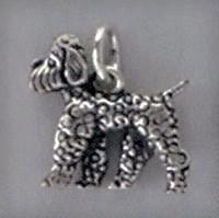 Anhänger Pudel, Hund stehend in echt Sterling-Silber 925 oder Gold, Charm, Ketten- oder Bettelarmband-Anhänger