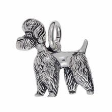 Anhänger Pudel, Hund stehend in echt Sterling-Silber 925 oder Gold, Ketten- oder Schlüssel-Anhänger