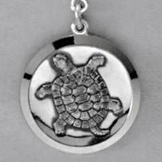 Anhänger Schildkröte, Plakette in echt Sterling-Silber 925, Ketten- oder Schlüssel-Anhänger