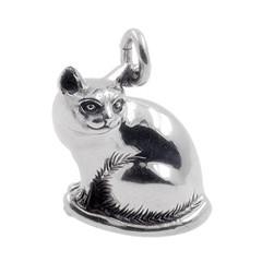Anhänger Katze sitzend in echt Sterling-Silber 925 und Gold, Ketten- oder Schlüssel-Anhänger