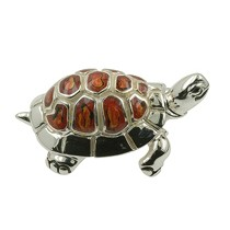 Zierfigur Schildkröte in echt Sterling-Silber 925 emailliert, Standmodell
