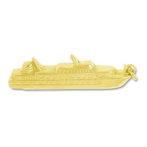 Anhänger Passagierschiff, Kreuzfahrtschiff in echt Gold, Ketten- oder Schlüssel-Anhänger