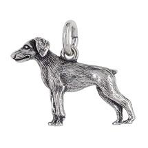 Anhänger Dobermann, Hund in echt Sterling-Silber 925 oder Gelbgold, Ketten- oder Schlüssel-Anhänger