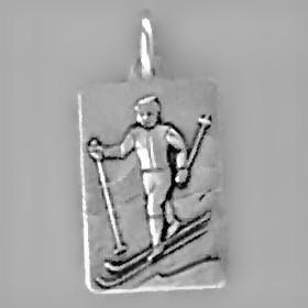 Anhänger Skilangläufer, Plättchen in echt Sterling-Silber 925 und Gold, Ketten- oder Schlüssel-Anhänger