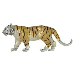 Zierfigur Tiger echt Sterling-Silber 925 emailliert, Standmodell