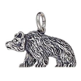 Anhänger Bär laufend in Silber oder Gold, Charm T157, Schlüsselanhänger oder Kettenanhänger