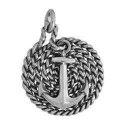 Anhänger Anker auf Tau in echt Sterling-Silber 925 oder Gold, Ketten- oder Schlüssel-Anhänger