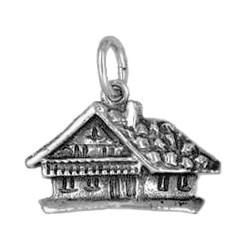 Anhänger Schweizerhaus in echt Sterling-Silber 925 oder Gold, Charm, Ketten- oder Bettelarmband-Anhänger