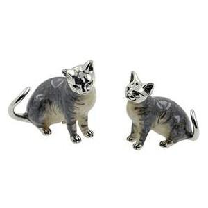 Zierfiguren Katzenpaar in echt Sterling-Silber 925, Standmodell