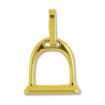 Anhänger Steigbügel in echt Gelbgold, Charm, Ketten- oder Bettelarmband-Anhänger