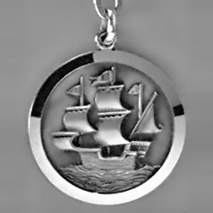 Anhänger Segelschiff, Piratenschiff, Kogge, Plakette in echt Sterling-Silber 925 und Gold, Ketten- oder Schlüssel-Anhänger