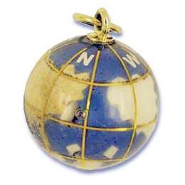Anhänger Boule, Pétanque, Erdkugel, Stein mit Echtgold-Intarsien, Charm, Ketten- oder Bettelarmband-Anhänger
