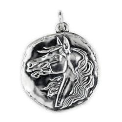 Anhänger Pferdekopf, Medaille in echt Sterling-Silber 925 oder Gold, Ketten- oder Schlüssel-Anhänger