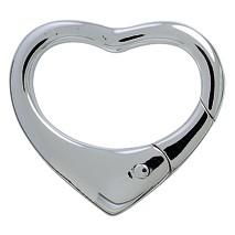 Schlüsselring-Herz-Karabiner mit Schnappverschluss, Schlüsselmechanik in echt Silber 925 für Anhänger.