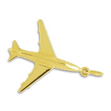Anhänger Flugzeug, Düsenjet in echt Gold, Charm, Ketten- oder Bettelarmband-Anhänger