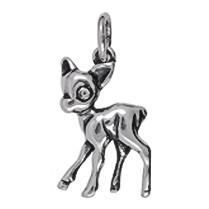 Anhänger Bambi in Silber oder Gold, Charm T362, Kettenanhänger oder Bettelarmband-Anhänger