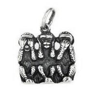 Anhänger Affen, indische Weisheit, Minai, Kikanai, Iwanai, Charm T171 in echt Sterling-Silber 925