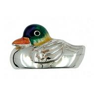 Zierfigur Ente schwimmend in echt Silber 925 emailliert
