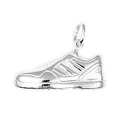 Anhänger Joggingschuh, Laufschuh in echt Sterling-Silber 925, Charm, Ketten- oder Bettelarmband-Anhänger