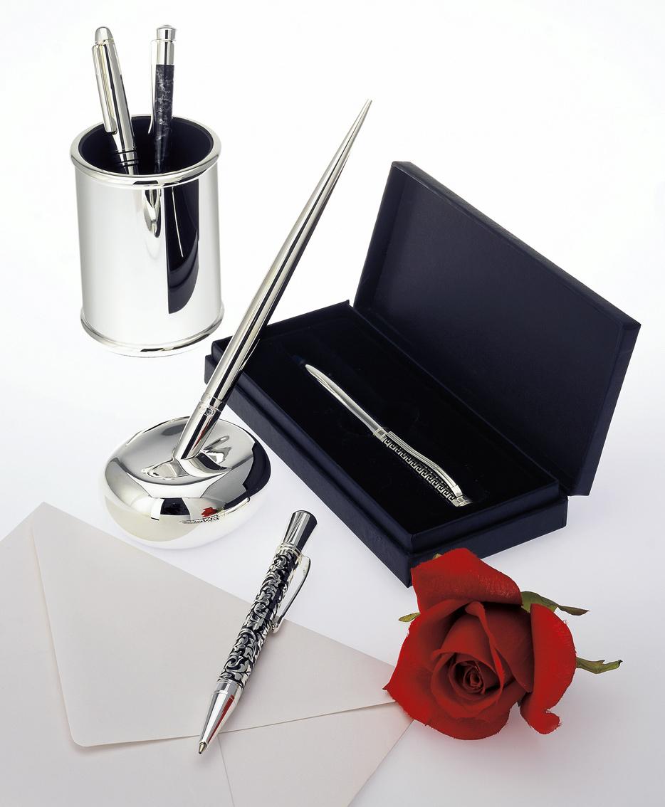 Kugelschreiber, Kulis hochwertig versilbert