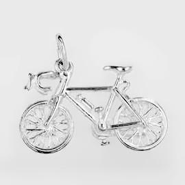 Anhänger Rennrad, Cyclocross Bike, Fahrrad in echt Sterling-Silber 925 oder Gold, Charm, Ketten- oder Bettelarmband-Anhänger