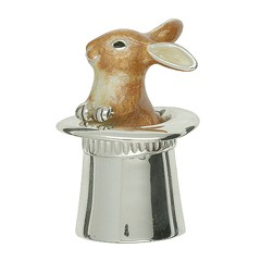 Zierfigur Hase im Zylinder in echt Sterling-Silber 925 emailliert, Standmodell