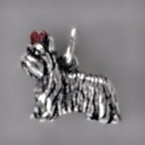 Anhänger Yorkshire Terrier, Hund in echt Sterling-Silber 925 oder Gold, Charm, Ketten- oder Bettelarmband-Anhänger