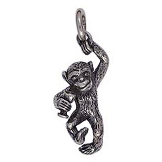 Anhänger Affe mit Weinglas in Silber oder Gold, Charm T172, Kettenanhänger oder Bettelarmband-Anhänger