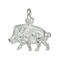 Anhänger Wildschwein in Sterling-Silber 925 weiß oder Gelbgold, Ketten- oder Schlüssel-Anhänger