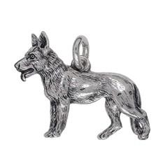 Anhänger Schäferhund in echt Sterling-Silber 925 oder Gold, Ketten- oder Schlüssel-Anhänger