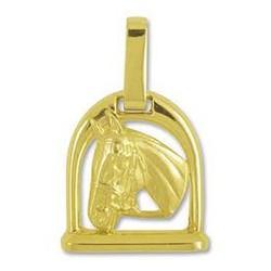 Anhänger Pferdekopf mit Steigbügel in echt Gelbgold, Ketten- oder Schlüssel-Anhänger