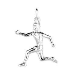 Anhänger Jogger in echt Sterling-Silber 925 oder Gold teilmattiert, Charm, Ketten- oder Bettelarmband-Anhänger