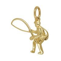 Anhänger Angler in echt Sterling-Silber weiß oder Gelbgold, Kettenanhänger oder Schlüssel-Anhänger