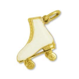 Anhänger Rollschuh in echt Gold, Charm, Ketten- oder Bettelarmband-Anhänger