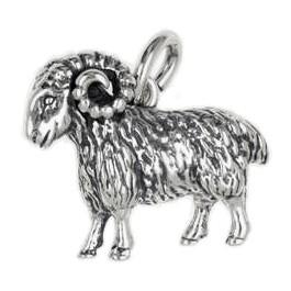 Anhänger Schafbock, Widder in echt Sterling-Silber oder Gold, Schlüsselanhänger oder Kettenanhänger