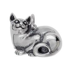 Anhänger Katze liegend in echt Sterling-Silber 925 und Gold, Ketten- oder Schlüssel-Anhänger