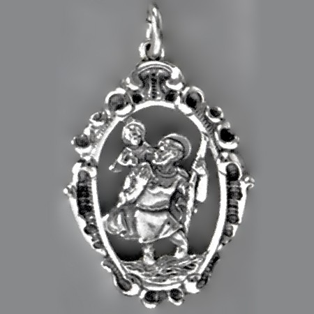Anhänger Christophorus mit verziertem Rand in echt Sterling-Silber 925 oder Gold, Ketten- oder Schlüssel-Anhänger
