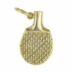 Anhänger Pingpongschläger in echt Gold, Charm, Ketten- oder Bettelarmband-Anhänger