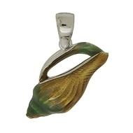 Anhänger Flügelschnecke in echt Sterling-Silber 925 emailliert Charm, Ketten- oder Bettelarmband-Anhänger