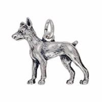 Anhänger Dobermann, Hund in echt Sterling-Silber oder Gold, Charm, Ketten- oder Bettelarmband-Anhänger